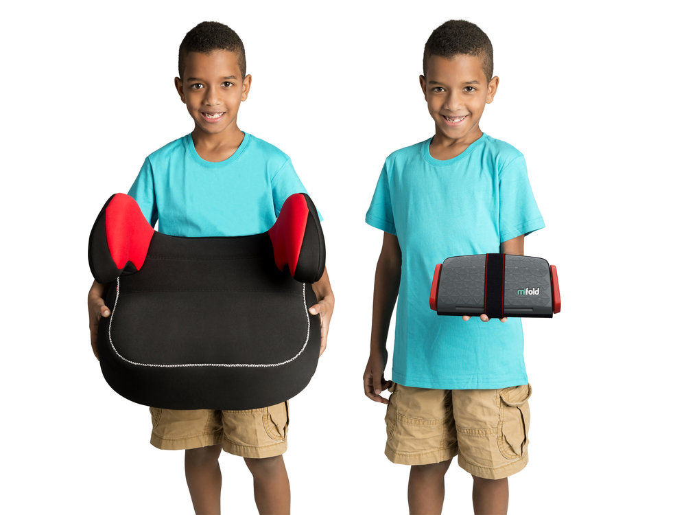 "The first question you might be asking is what is the mifold who needs it. The mifold is a revolutionary travel carseat. As with most boosters, the mifold is recommended for children between the ages of 4-12 years old who are over 40lbs and 40 inches tall. The biggest factor I have found in using booster seats with a seat belt is your child's ability to sit up straight without slouching. This is just as important with the mifold as it is traditional booster seats.  My first impression of the mifold is that it is so small! When they say it is 10x smaller than regular boosters they are not kidding. I'm pretty sure it's about the same size as my son's ipad. And come to think of it, weighs less too! (OK the truth is out.. we still have the old version of the iPad! The newer versions actually weight less than the mifold!)  Is it safe?  After I hear the initial ""WOW"", the first question I get is ""Is it safe?"". The mifold is just as safe as a regular booster. It has been approved by the transportation authorities (NHTSA in the US) in Europe, Canada and the US. The main difference between a regular booster and the mifold is that a traditional booster lifts the child up so that the car's seat belt is at at the right height on the child. The mifold on the other hand pulls the seat belt down to the child's level.  I definitely recommend watching one of these  instructional videos  in advance so you know exactly how to use it before your first attempt. However, that said, it is  really easy to install and is perfect for on the go travel in taxi's, Uber and Lyft.   A few key things to keep in mind if you are using it in different vehicles like we do. The installation of the seat is dependent on the type of 'crease' that is exists in the car you will be in. For example some cars the top part of the seat is raised above the seat bottom, whereas some vehicles do not have the crease. Check out the full length video linked above to see how the installation differs between the two.   Cian's Complaint"