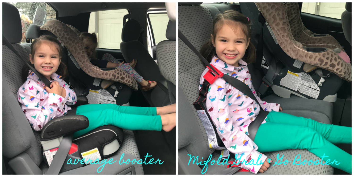 The  mifold Grab and Go Booster Seat completely eliminates this worry. It's a super small booster designed to fit right in your little one's backpack. It folds up and is 10 times smaller than the average booster. 10 times smaller, friends! I don't have to stress anymore when my littles ride home with someone else for a playdate, because they have their carseat with them!