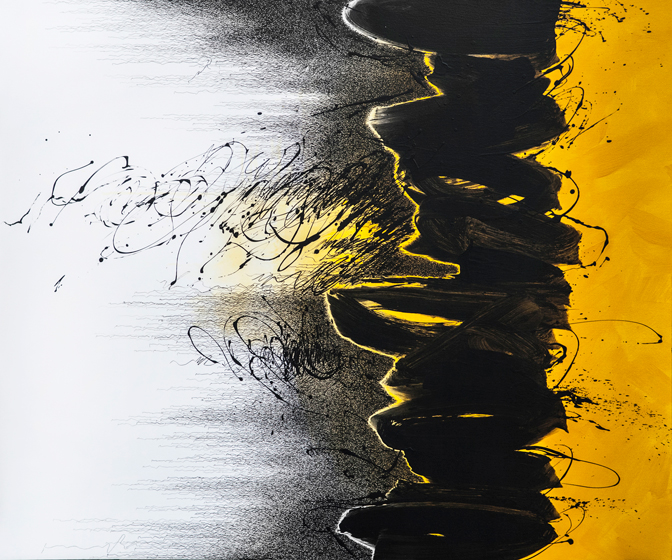 Every Breaking Wave (2), 2014 Acrylic & pen on canvas  55.4 x 66.3""