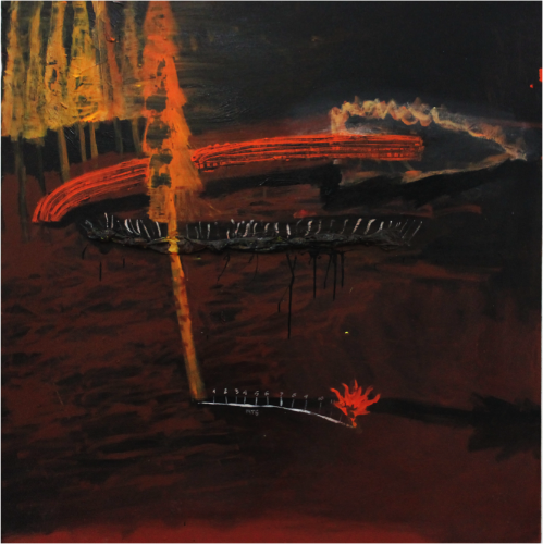 "Artist Eddy Maikel Sotomayor         La caida del pino rojo Oil on Canvas             51"" x 51"" 2015"