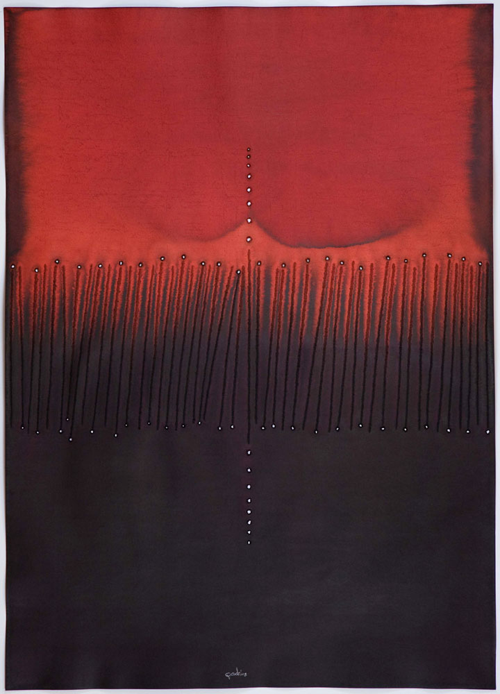 "Suphala III,  2008    Ink and dye on paper    55 x 39""     (Inventory# SQ755[stg](0834))    Stock NY    $59,000     Sohan Qadri"