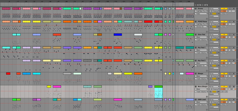 My Ableton Live project. Should have gone with a more pleasing colour scheme.