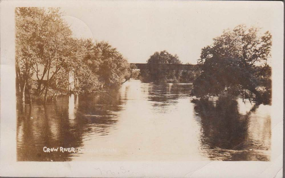 7. Crow River Sepia Toned Postcard