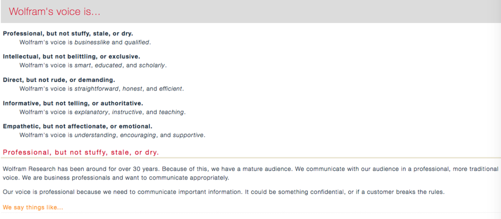 These voice and tone guidelines live in an internal wiki and we referenced them regularly during stakeholder reviews.