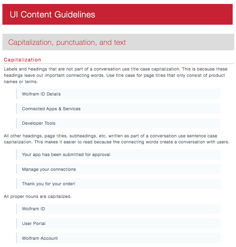 These content guidelines were published to our internal wiki so anyone could access them. Want to see more? Download a screenshot of the whole page