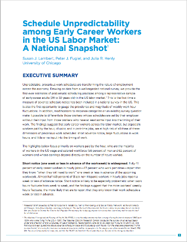 Schedule Unpredictability among Early Career Workers in the US Labor Market: A National Snapshop