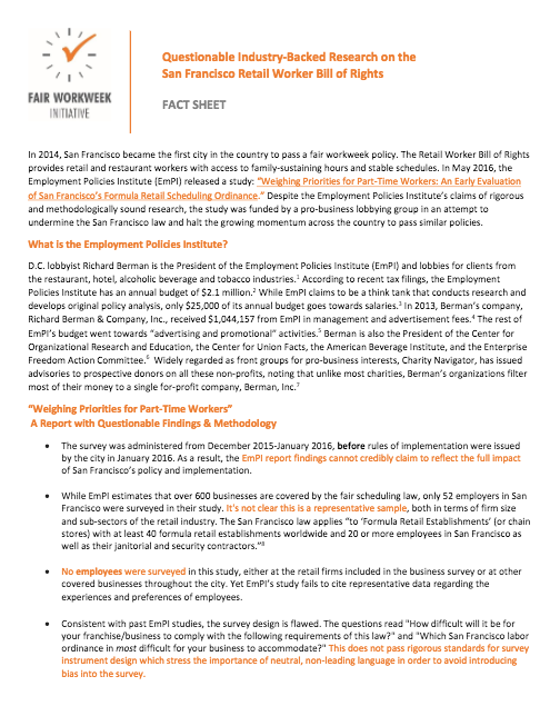 Fact Sheet on the Questionable Industry-Backed Research on theSan Francisco Retail Worker Bill of Rights