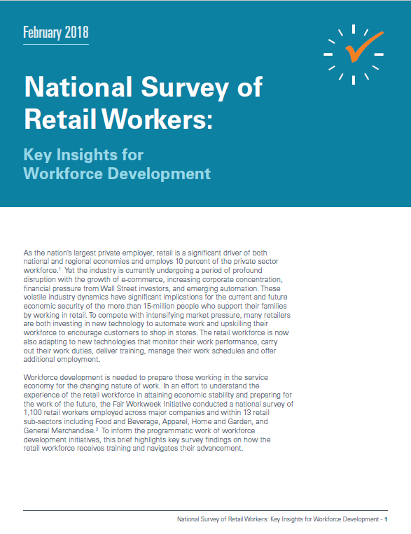 National Survey of Retail Workers: Key Insights for Workforce Development