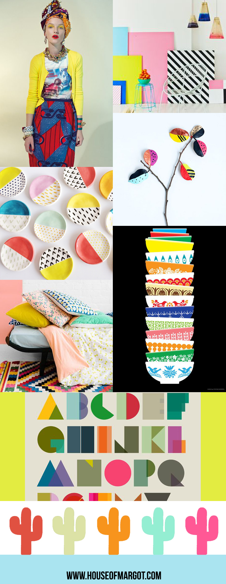 Inspired by Eclectic mood board by House of Margot | neon colors | cacti | block typography | pyrex | stripes | bold design | color combo | color inspiration