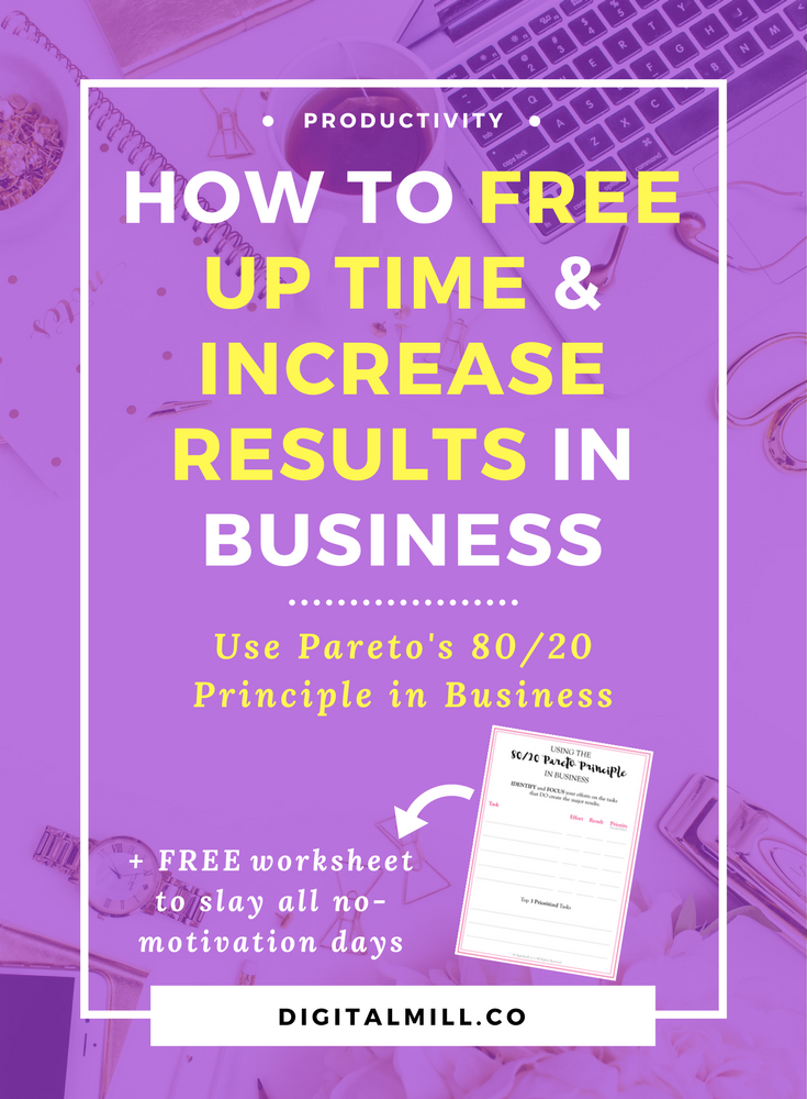 How to get more done in less time, free up time, and increase results in business using Pareto's 80/20 Principle. Read now or pin for later >>