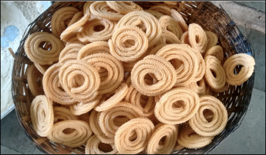 Murukku - a fried, savoury that is a staple evening snack in Tamil Nadu