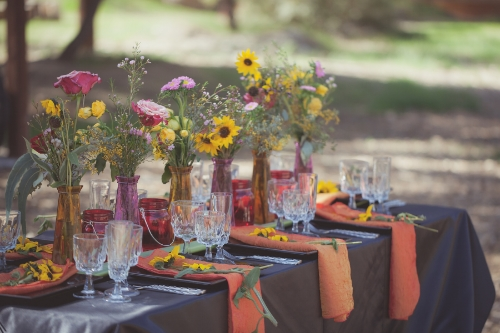 Tablescape rentals by Pierre's Catering. Florals by Burlap & Rose.
