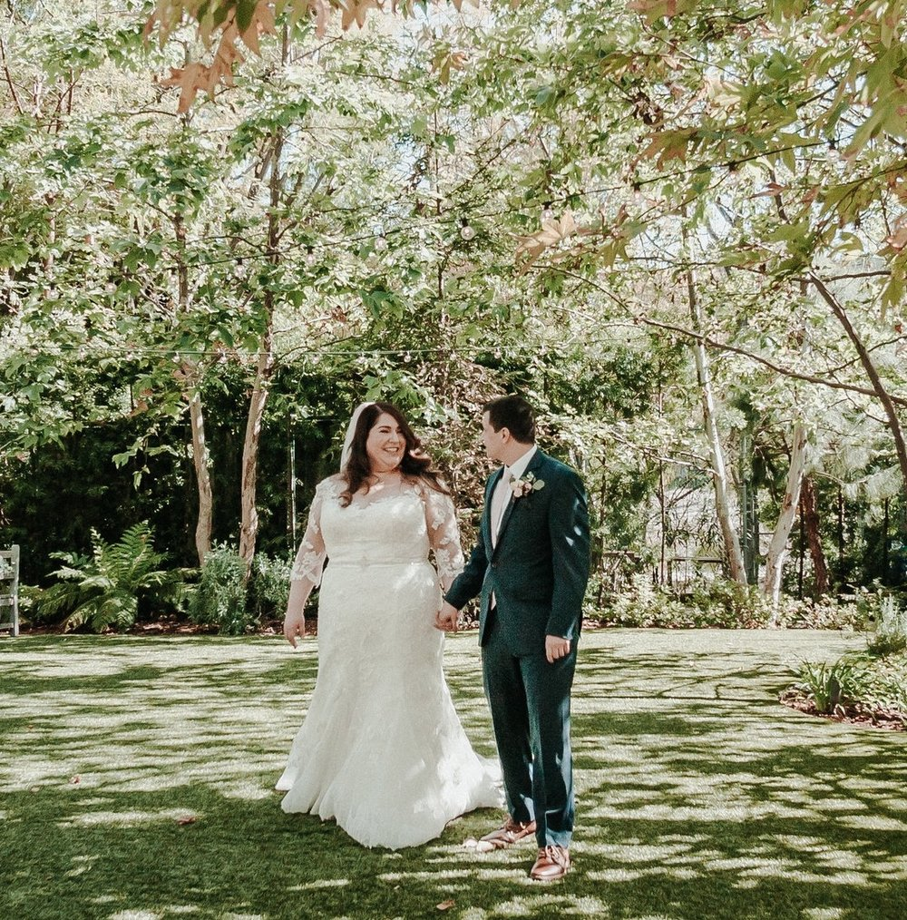 Vanessa + Joe in the garden at The Garland! Photo by This is LoveMade