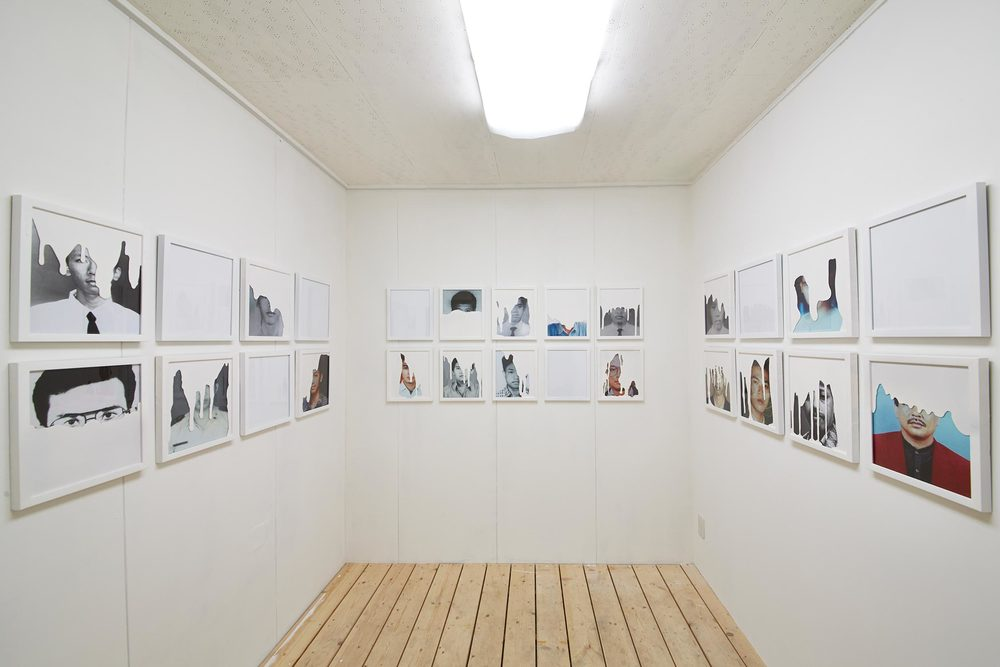 THE ROOM:    Room Installation. 19 Framed Photographs Covered with White Paint. 7  Empty Frames, Audio Installation. White Chair.   Koganecho Bazaar 2014 , Yokohama - Japan. Photo by:   Yasuyuki Kasagi
