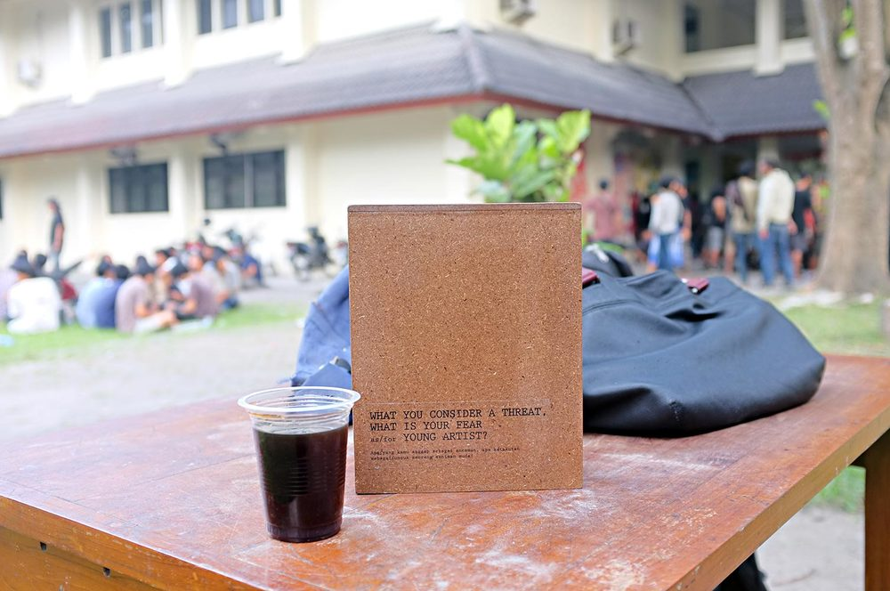 A wooden box placed on Institute of the Arts, Yogyakarta to help arts students to contribute their thoughts.