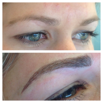 Before and Immediately After Micro stroke eyebrows
