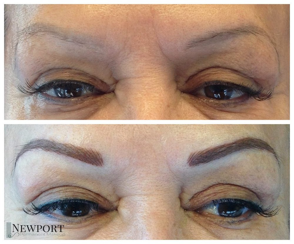 Previously tattooed eyebrows, done by another technician using a color that was too cool for the client's skin tone and had faded to a light grey tone.  Color correction was perfomed and six weeks later the target shape and color was applied in a hair stroke technique.