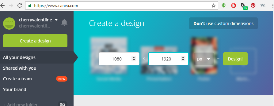 Step 3: Input size requirements 1080 x 1920