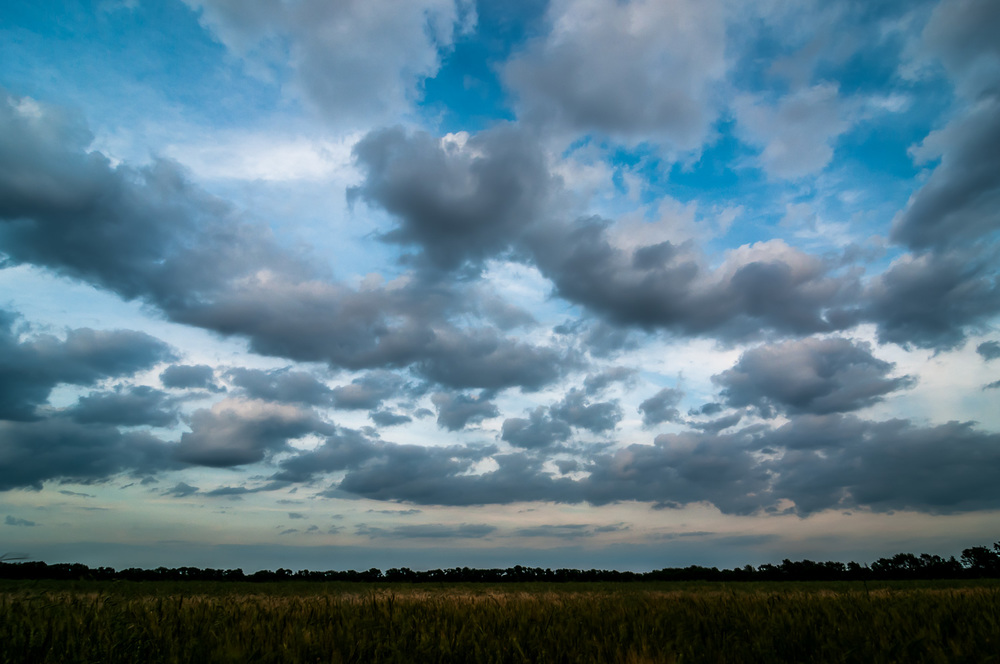 Sunset clouds near Newton, Kansas