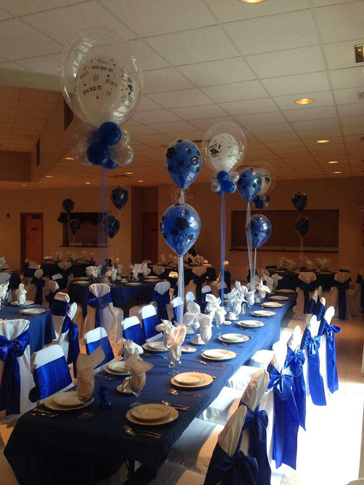 Blue & White Graduation Balloons