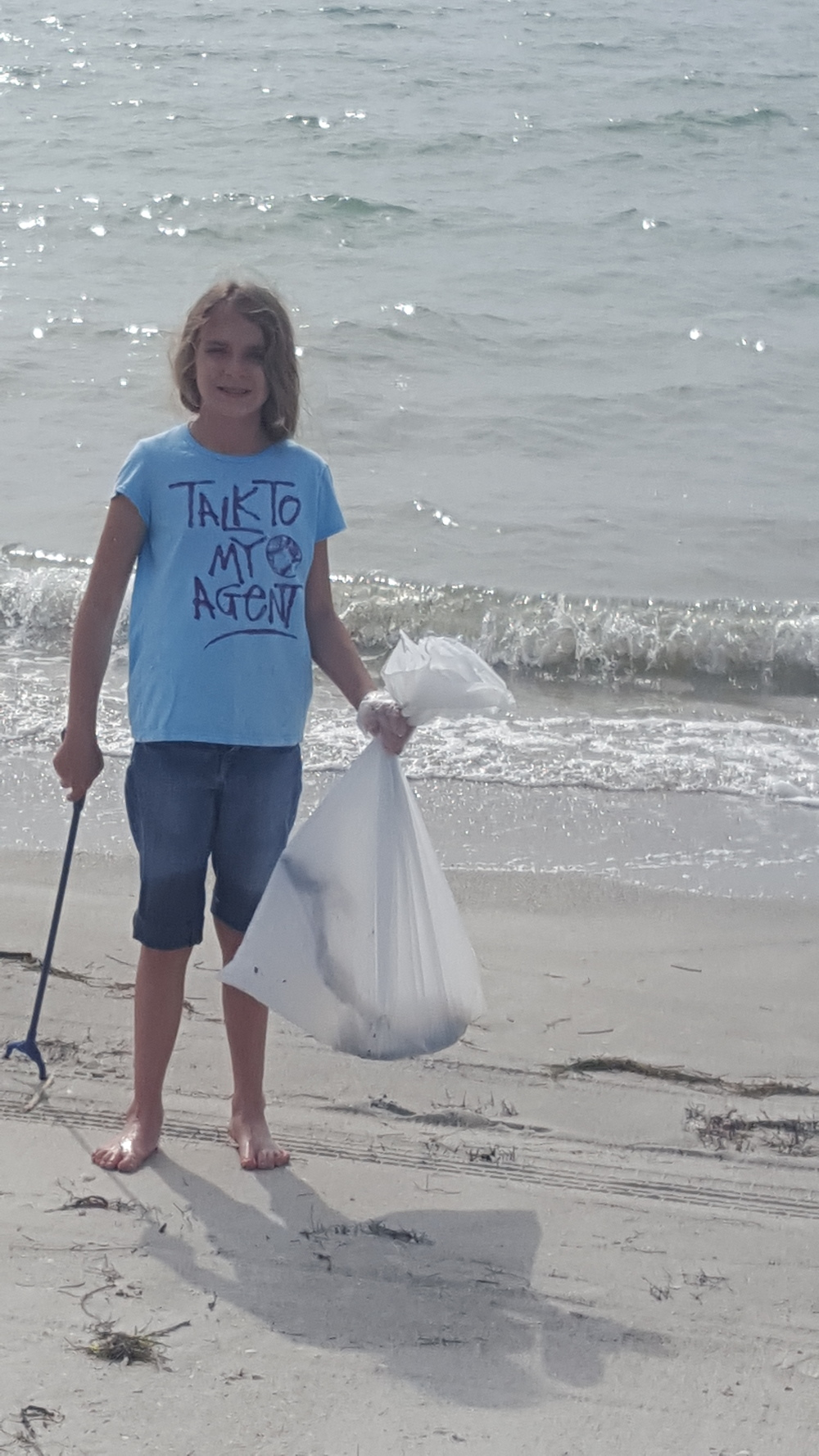 "Anna, along with our other 3 children, two friends, church members and others in the community helped ""Keep Pinellas Beautiful "" and ""Tampa Bay Watch "" clean up Fort Desoto Beach for our church's day of service."