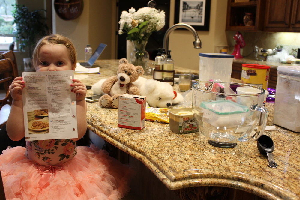 We prepped all the ingredients and read the recipe multiple times before starting. The bear lurking in the background is Mr. Header. He was given to Addie during our ambulance ride. It was only fitting that Mr. Header supervise the baking!