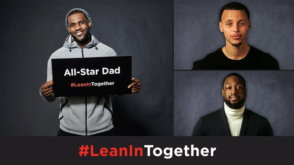 NBA stars LeBron James, Stephen Curry, Dwyane Wade Lean In