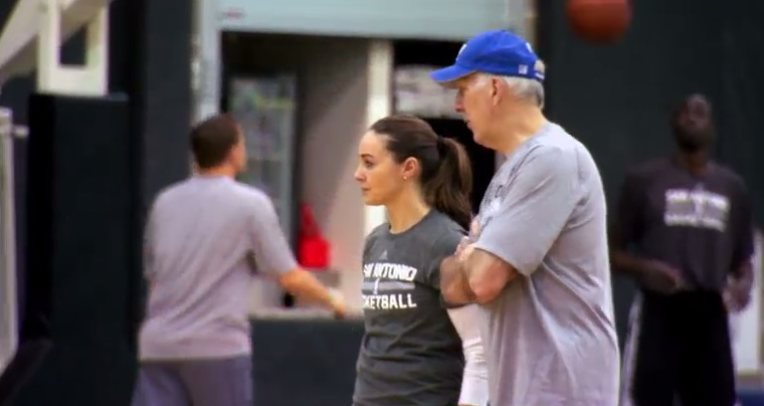 San Antonio Spurs assistant coach, Becky Hammond with Head Coach, Gregg Popovich