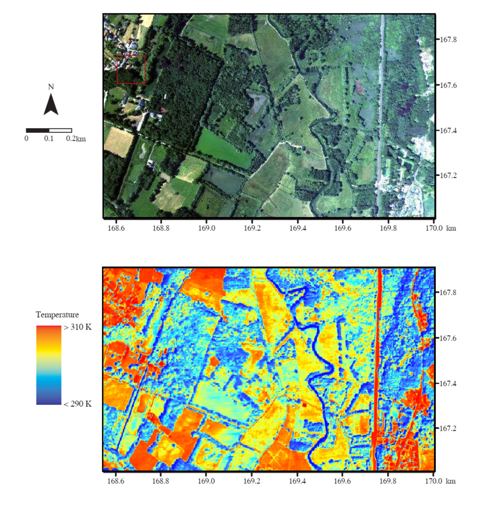 Image of Doode Bemde acquired during a flight campaign. Thermal image (below) is showing a high spatial variability of temperature according to the land use e.g. forests, fields, grasslands.