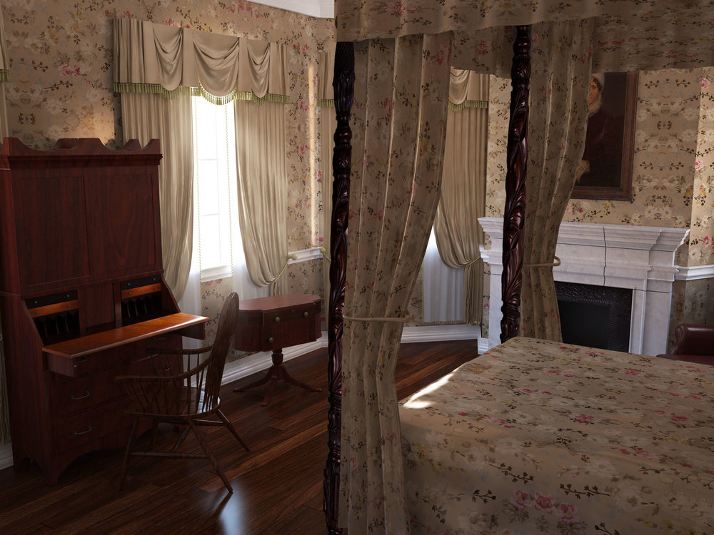 Rendering of the Bedroom of Susan Livingston Kean Niemcewicz