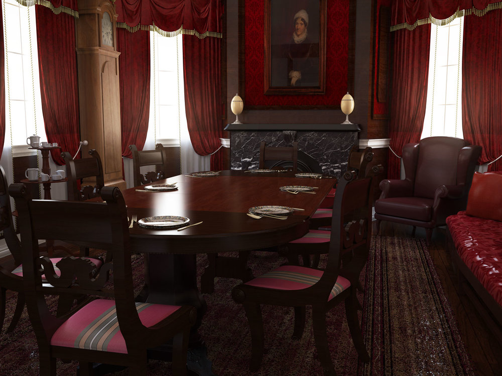 Rendering of the Dining Room of Colonel John Kean and Lucy Kean