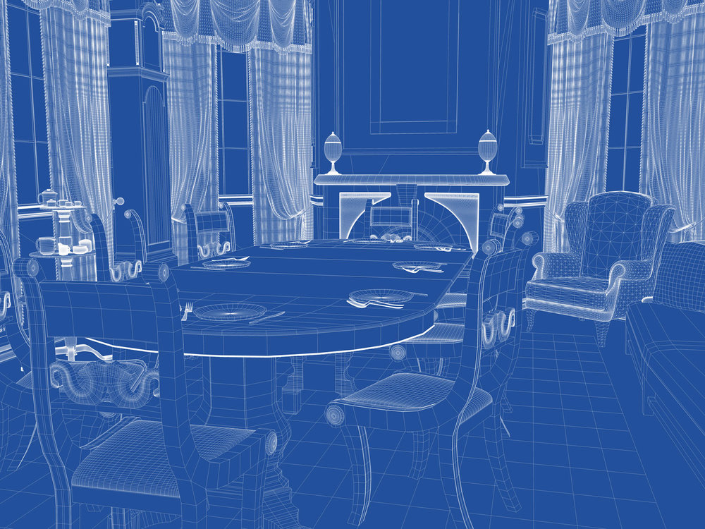 Wireframe View of the Dining Room