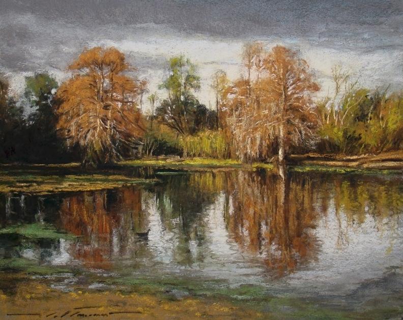 Cypress Pond at Fontainebleau Park -Pastel on Granular Board - by Alan Flattmann