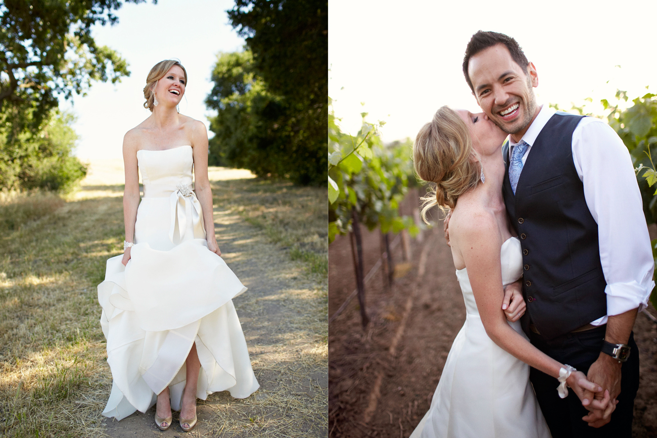 Holly and Jason kissing in vineyard