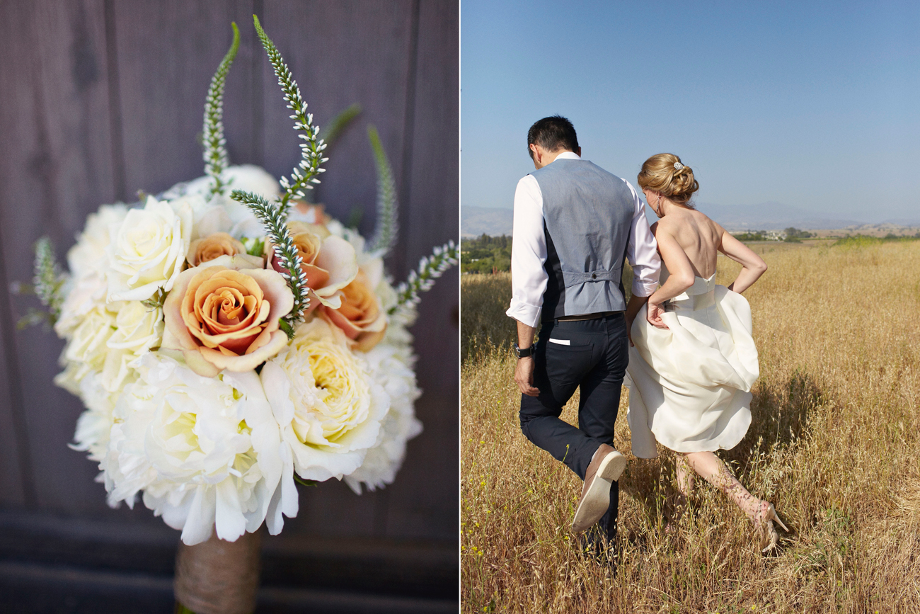 Wedding bouquet and walking through field