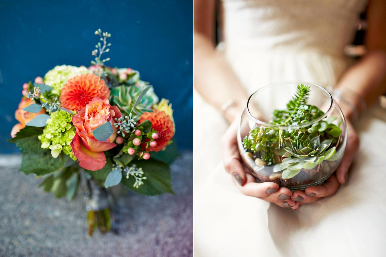 bride holding succulent