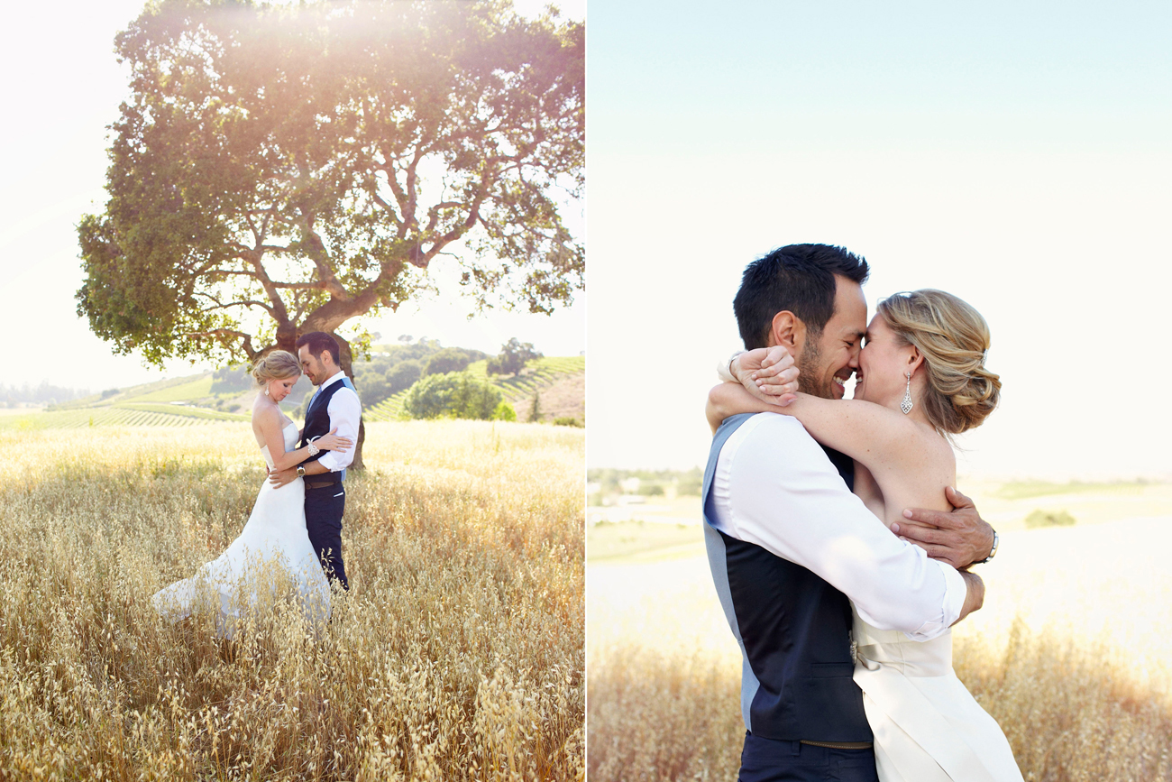 Holly & Jason in wine country under tree wedding