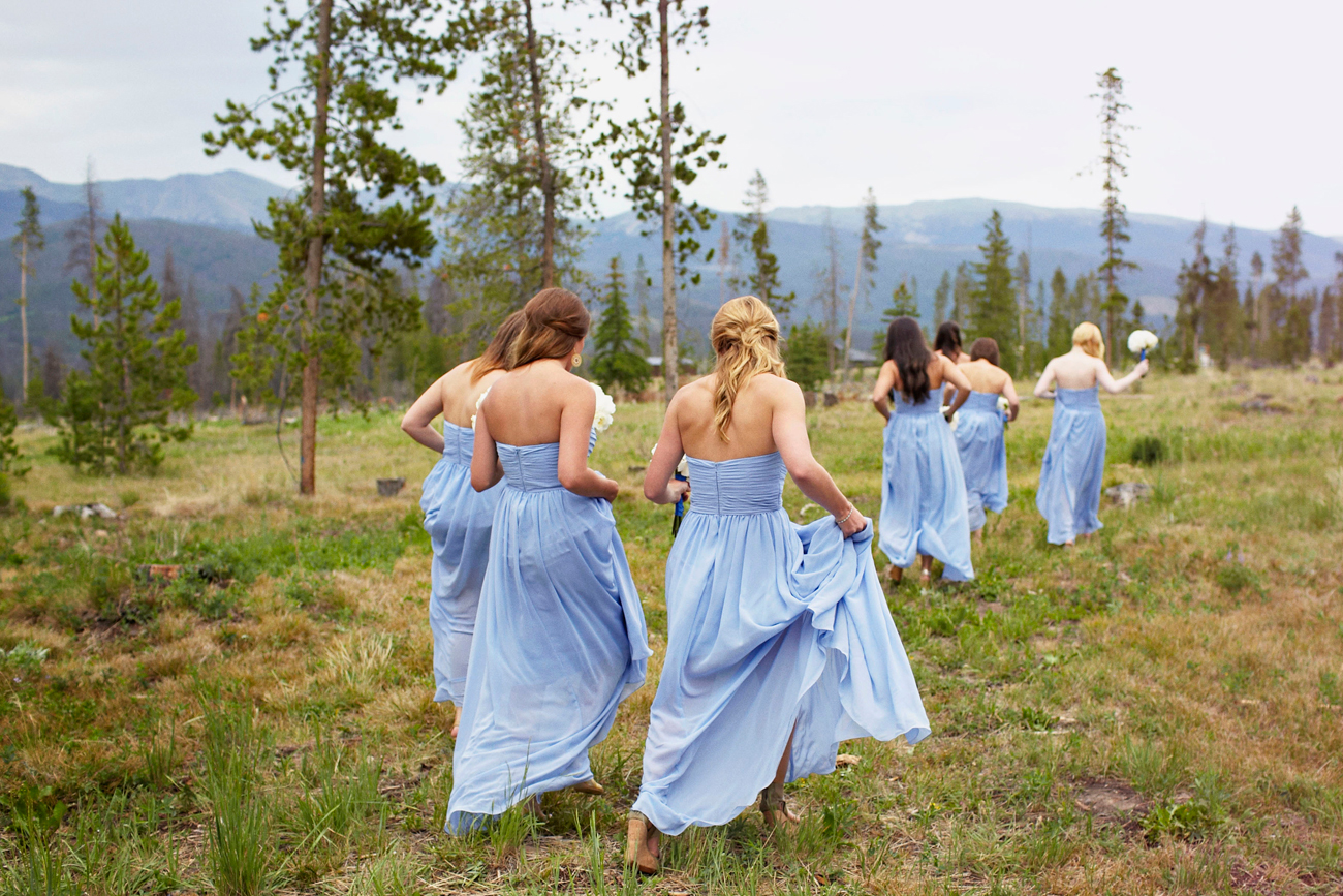Colorado wedding bridesmaids in blue