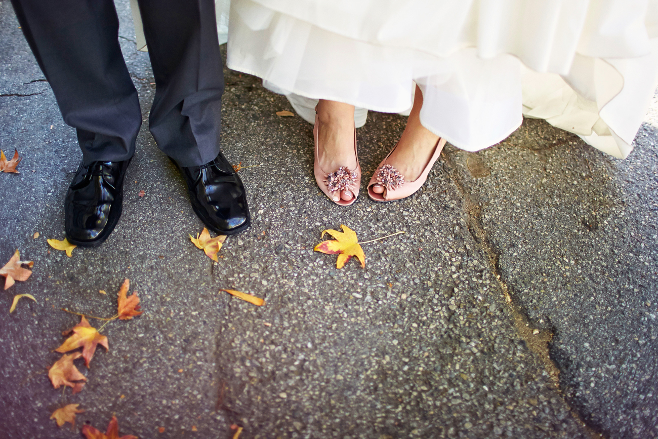 Wedding with leaves