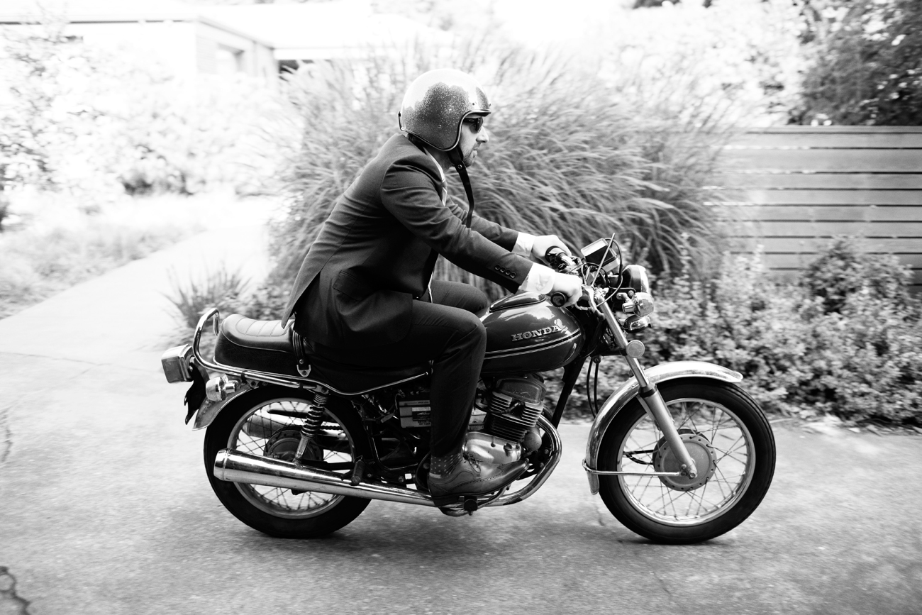 Ballard wedding groom on motorcycle