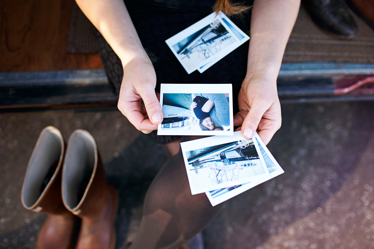 Road trip engagement polaroids