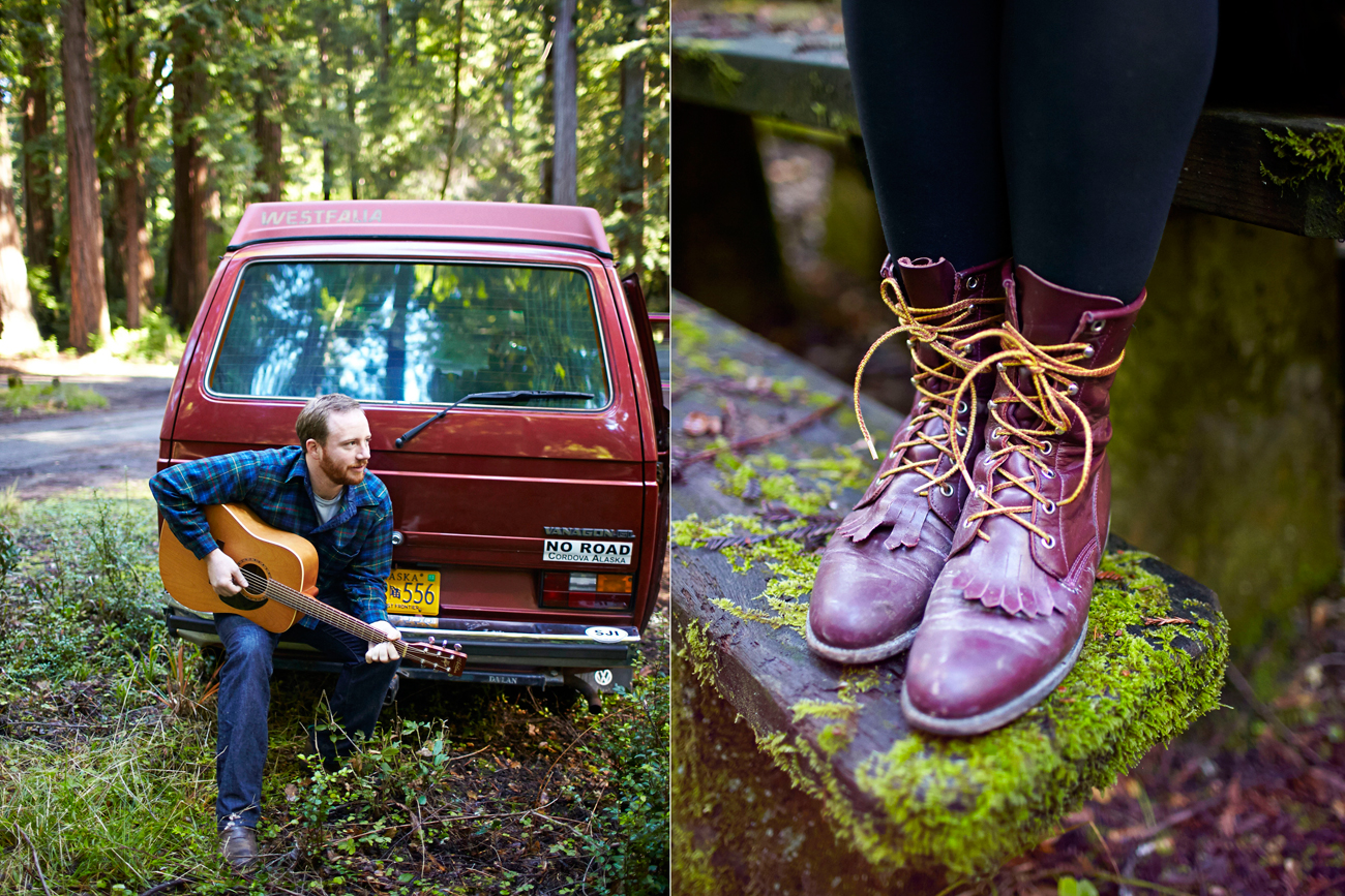 Road trip engagement guitar and lace-up boots