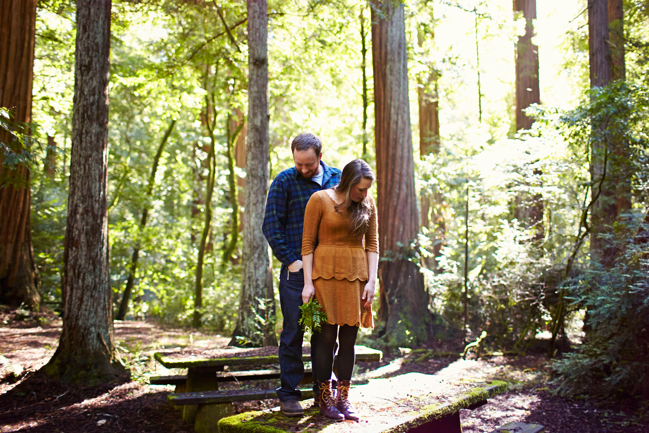 Road trip engagement standing in forest