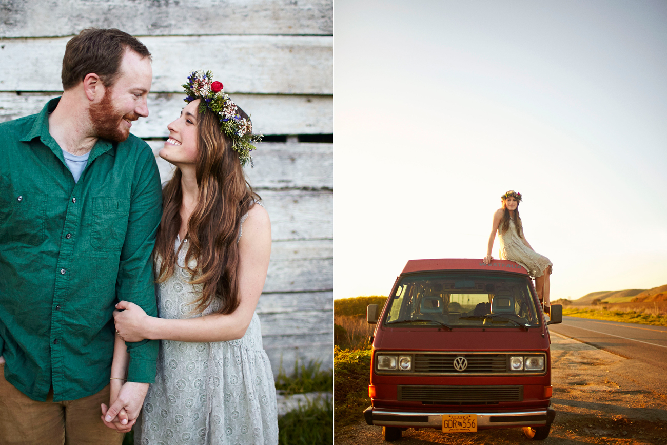 Road trip engagement sitting on VW roof with flower crown
