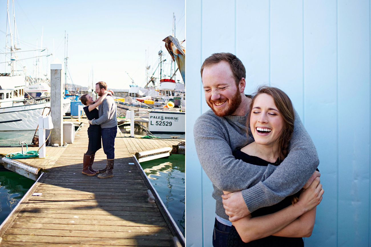 Road trip engagement on the docks
