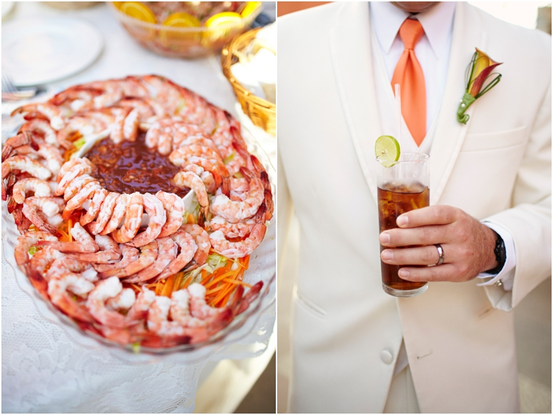 Mexico wedding shrimp and drinks at reception