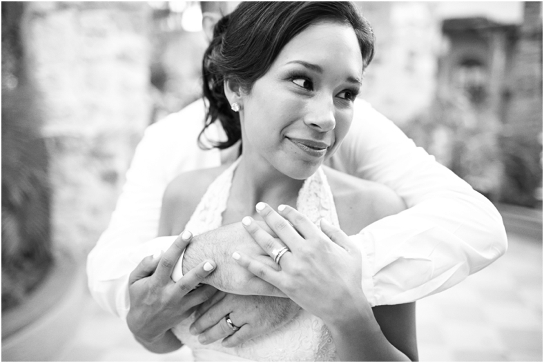 Mexico wedding bride and groom hugging