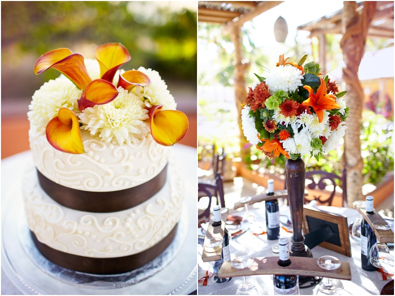 Mexico wedding cake and flowers