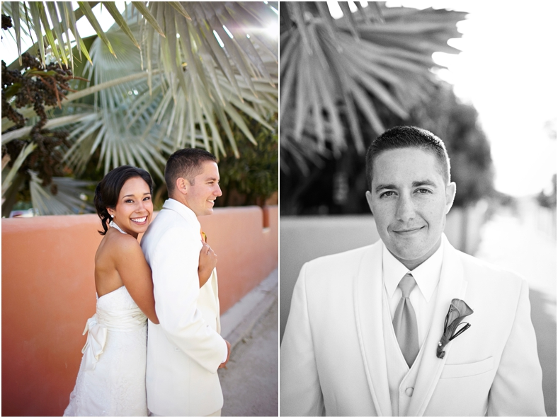 Mexico wedding brie and groom and palm trees