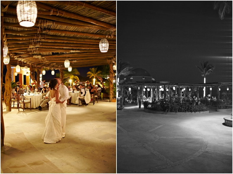 Mexico wedding bride and groom dancing at night